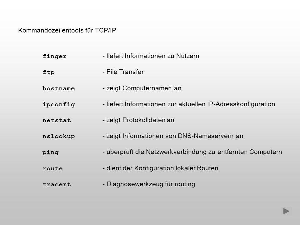 Kommandozeilentools für TCP/IP