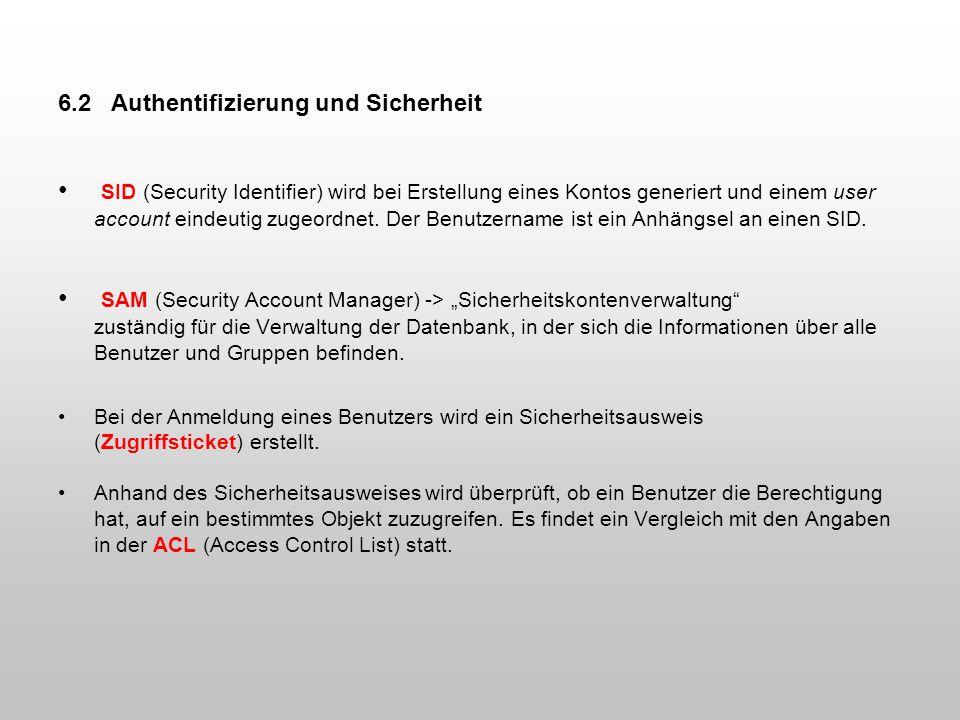 6.2 Authentifizierung und Sicherheit