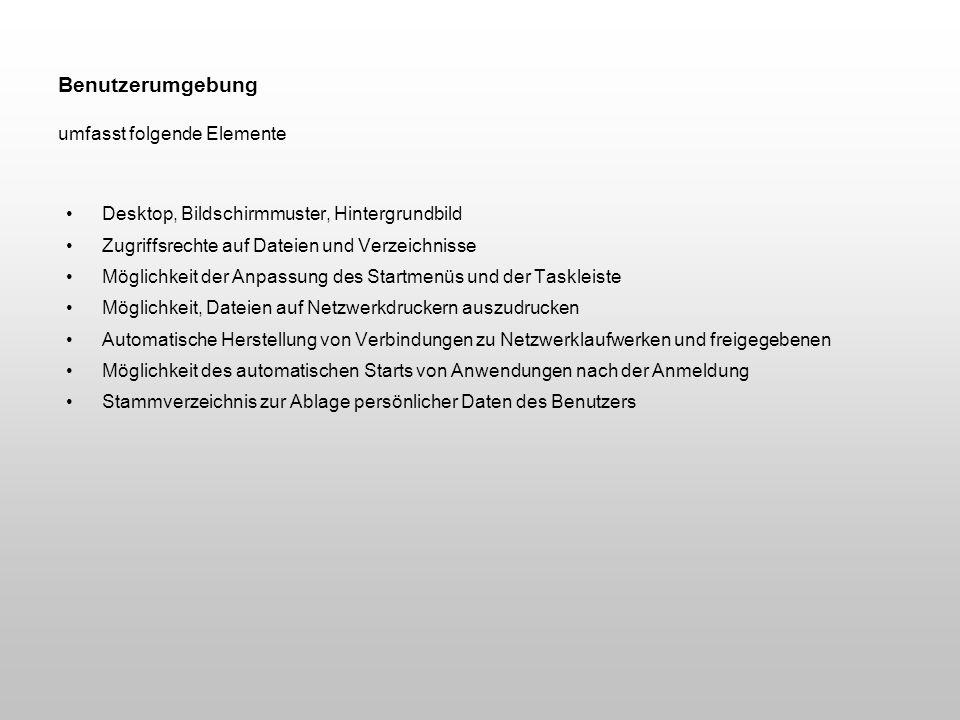 Benutzerumgebung umfasst folgende Elemente