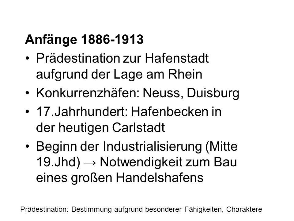 Prädestination zur Hafenstadt aufgrund der Lage am Rhein
