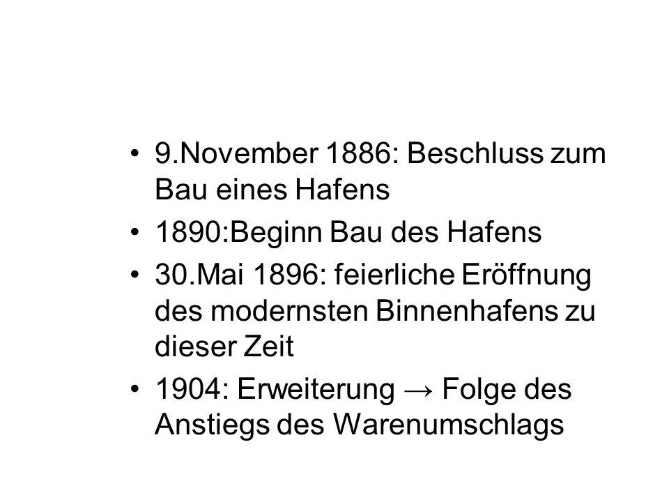 9.November 1886: Beschluss zum Bau eines Hafens