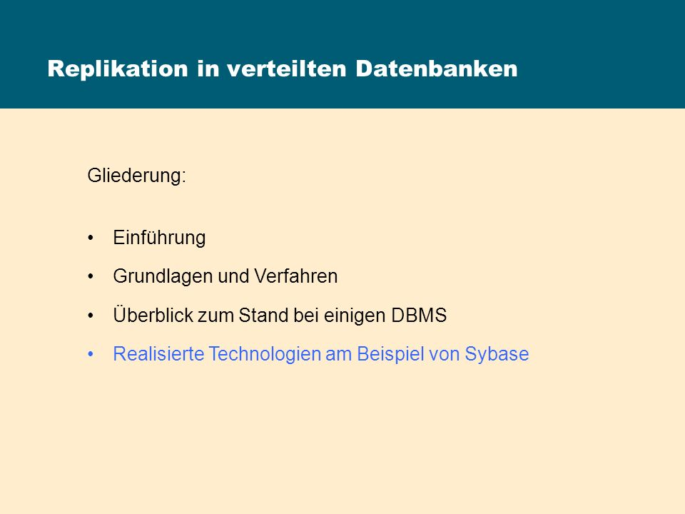 Replikation in verteilten Datenbanken