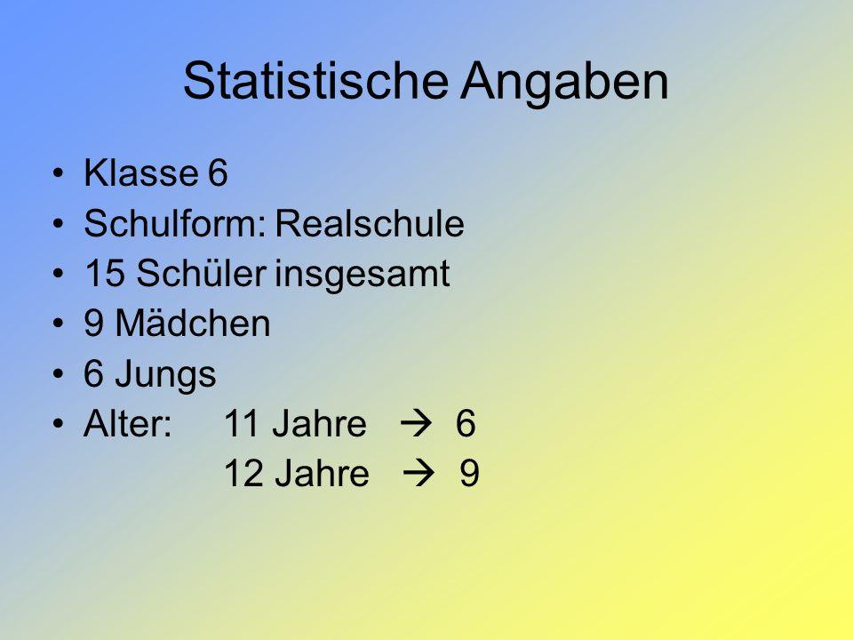 Statistische Angaben Klasse 6 Schulform: Realschule