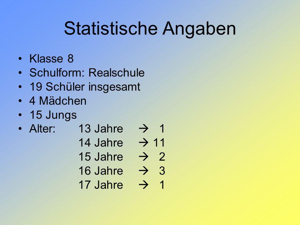 Statistische Angaben Klasse 8 Schulform: Realschule