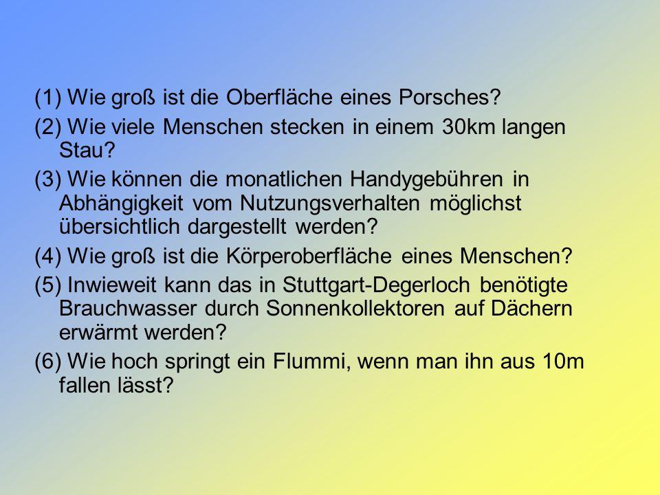 (1) Wie groß ist die Oberfläche eines Porsches