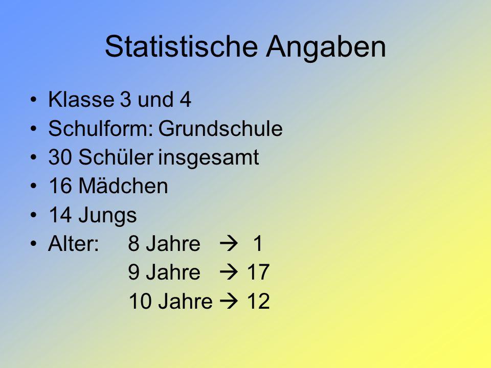 Statistische Angaben Klasse 3 und 4 Schulform: Grundschule