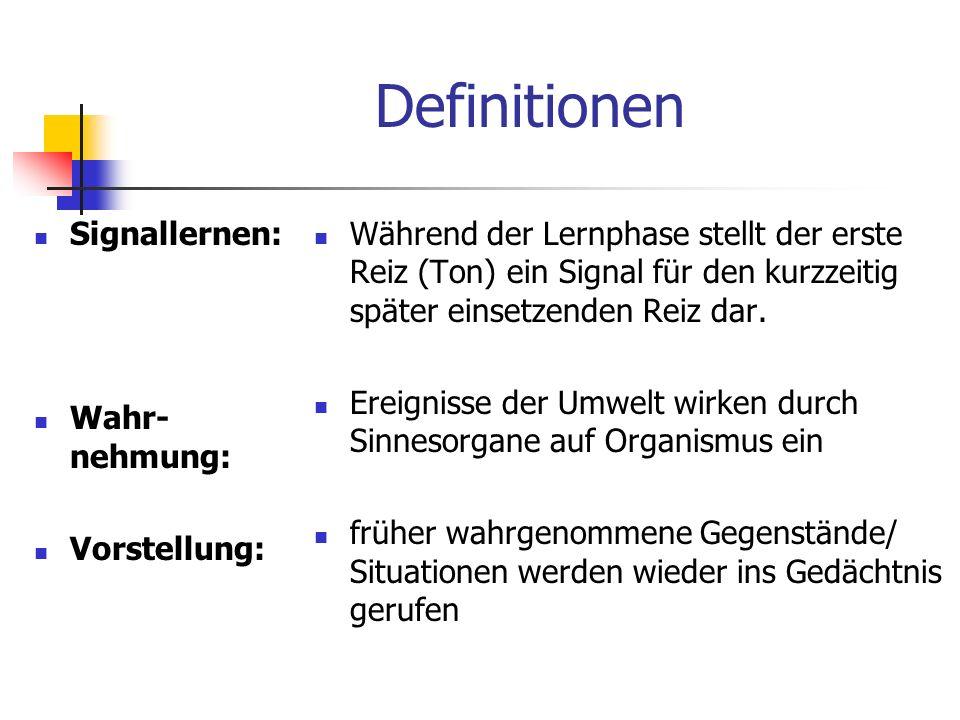 Definitionen Signallernen: Wahr-nehmung: Vorstellung: