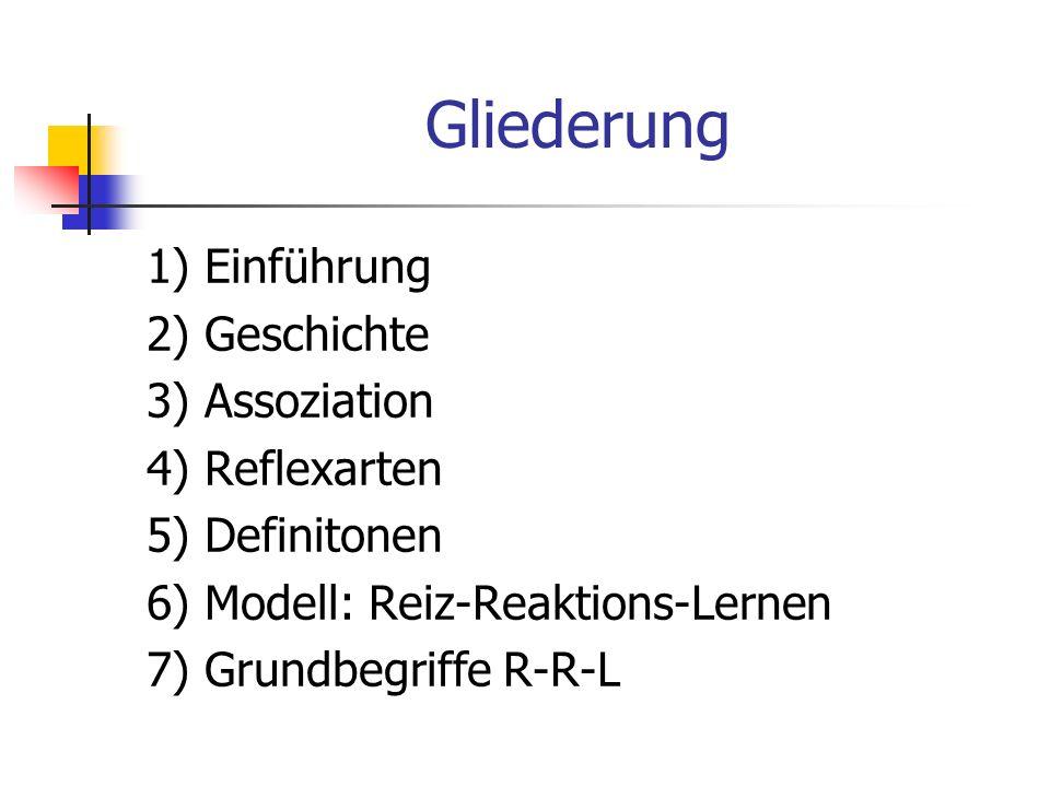 Gliederung 1) Einführung 2) Geschichte 3) Assoziation 4) Reflexarten