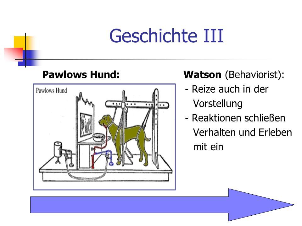 Geschichte III Pawlows Hund: Watson (Behaviorist): - Reize auch in der