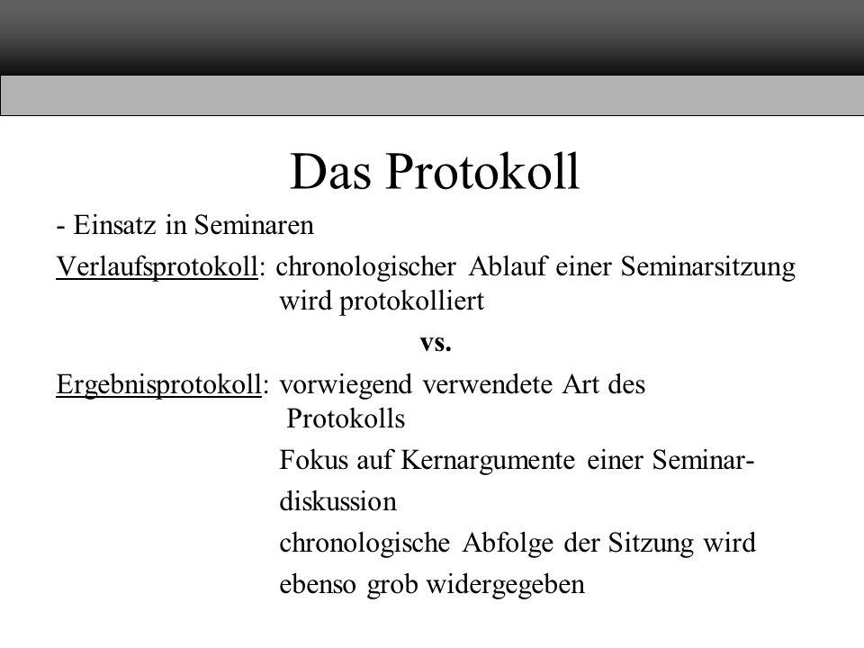 Das Protokoll - Einsatz in Seminaren