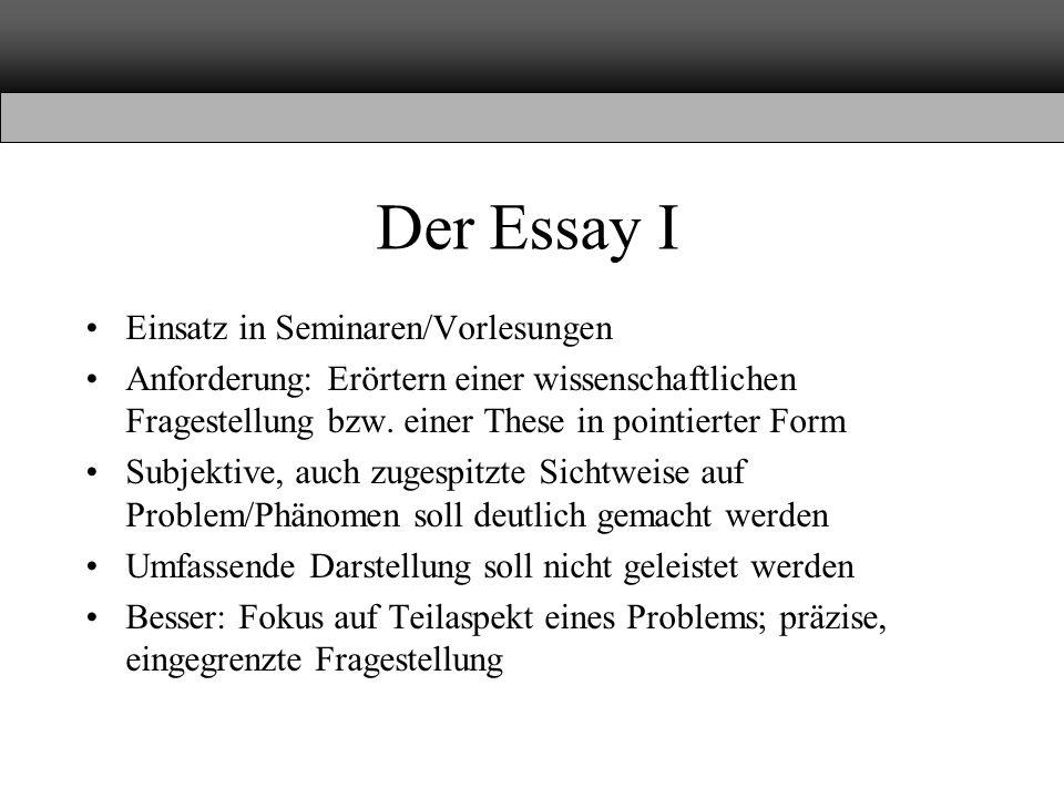 Der Essay I Einsatz in Seminaren/Vorlesungen