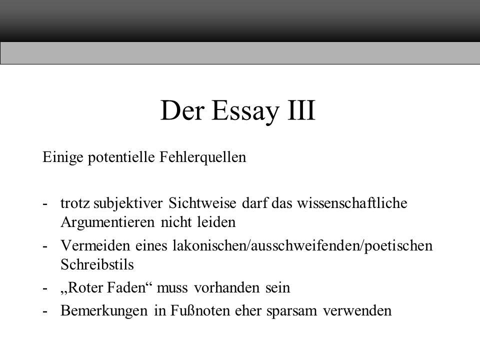 Der Essay III Einige potentielle Fehlerquellen