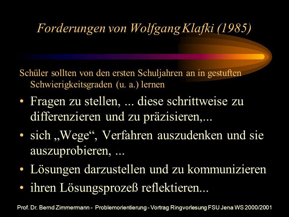 Forderungen von Wolfgang Klafki (1985)