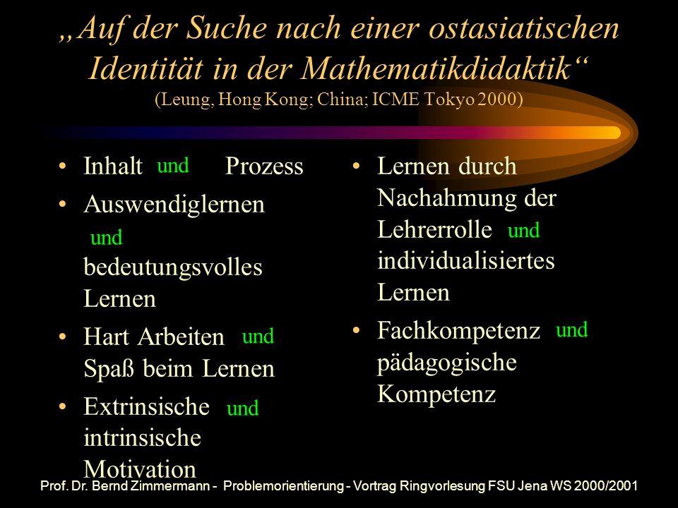 """""""Auf der Suche nach einer ostasiatischen Identität in der Mathematikdidaktik (Leung, Hong Kong; China; ICME Tokyo 2000)"""