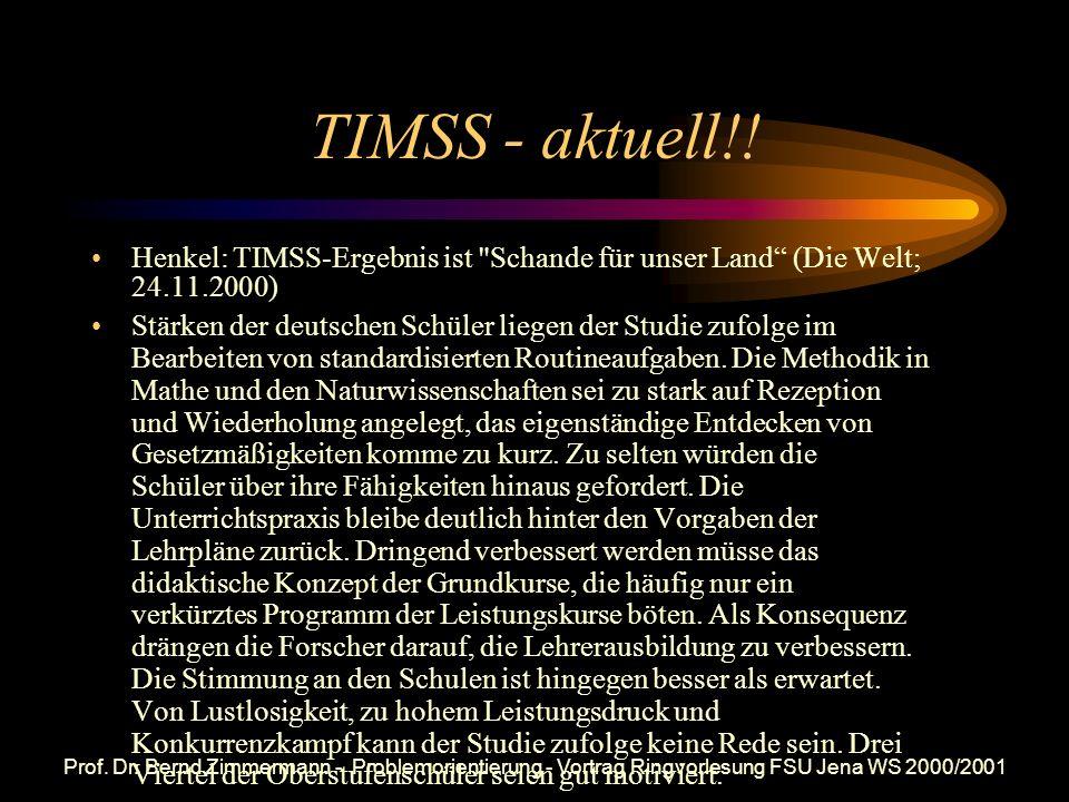 TIMSS - aktuell!! Henkel: TIMSS-Ergebnis ist Schande für unser Land (Die Welt; 24.11.2000)