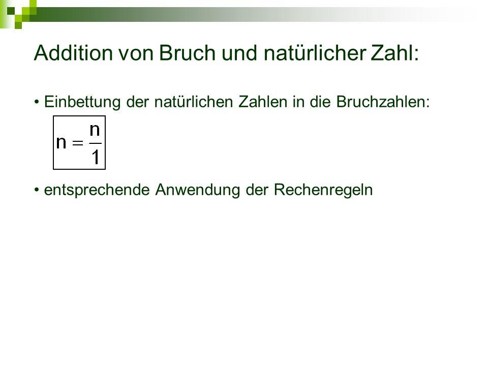 Addition von Bruch und natürlicher Zahl: