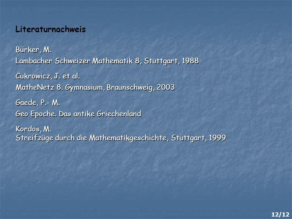 Literaturnachweis Bürker, M.