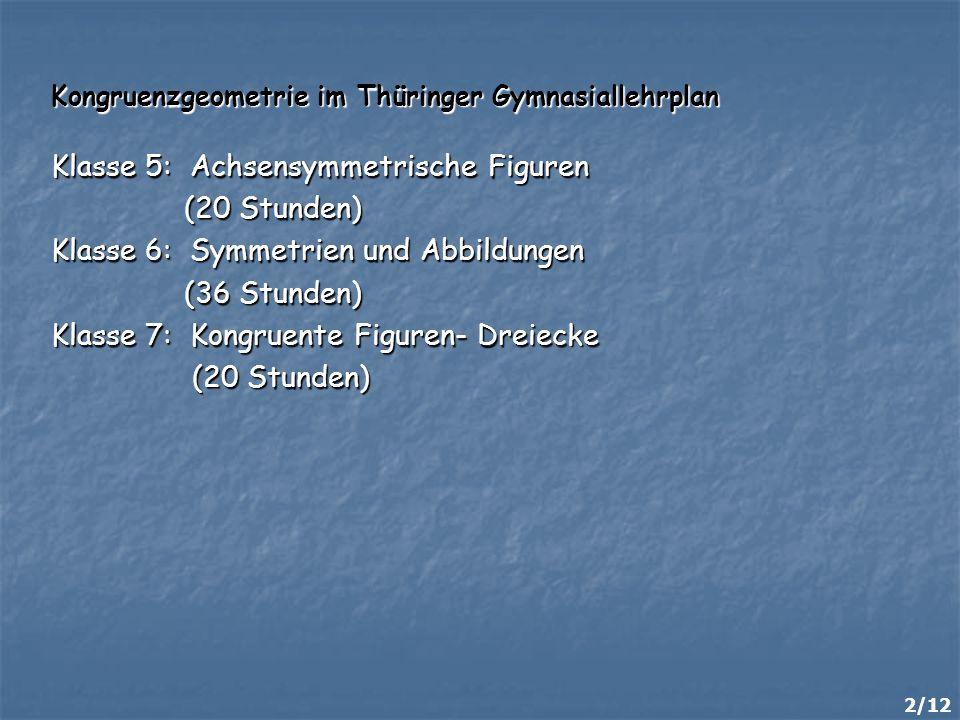 Klasse 5: Achsensymmetrische Figuren (20 Stunden)