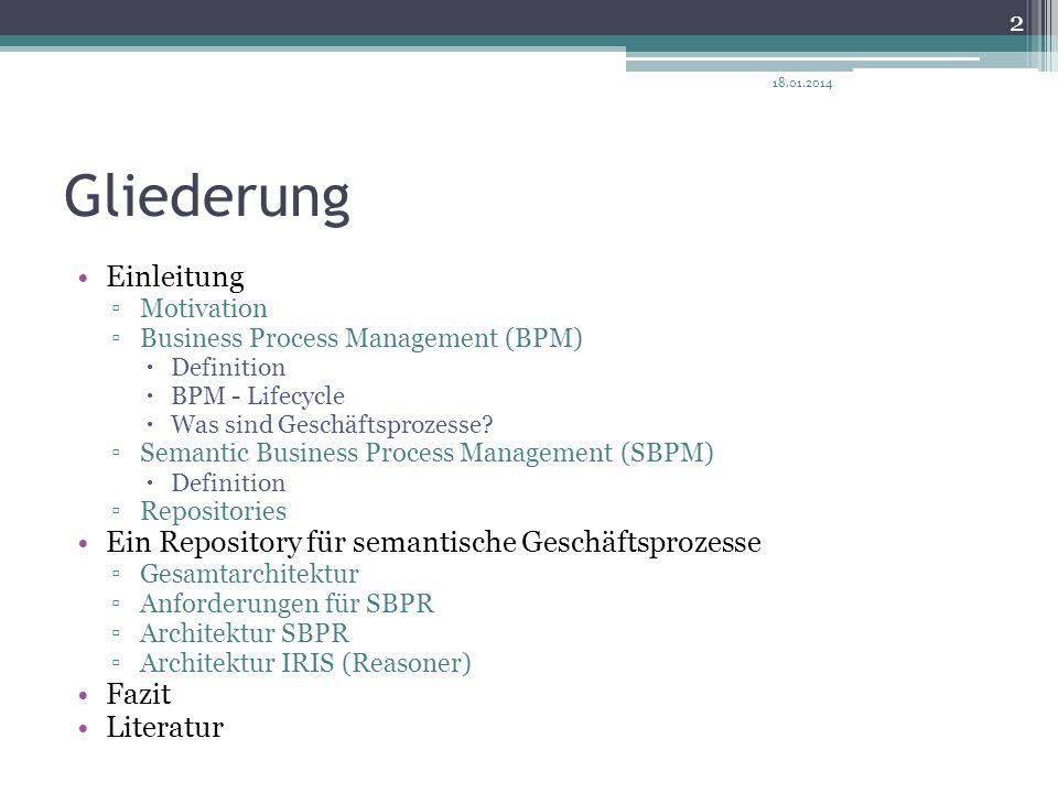 Gliederung Einleitung Ein Repository für semantische Geschäftsprozesse