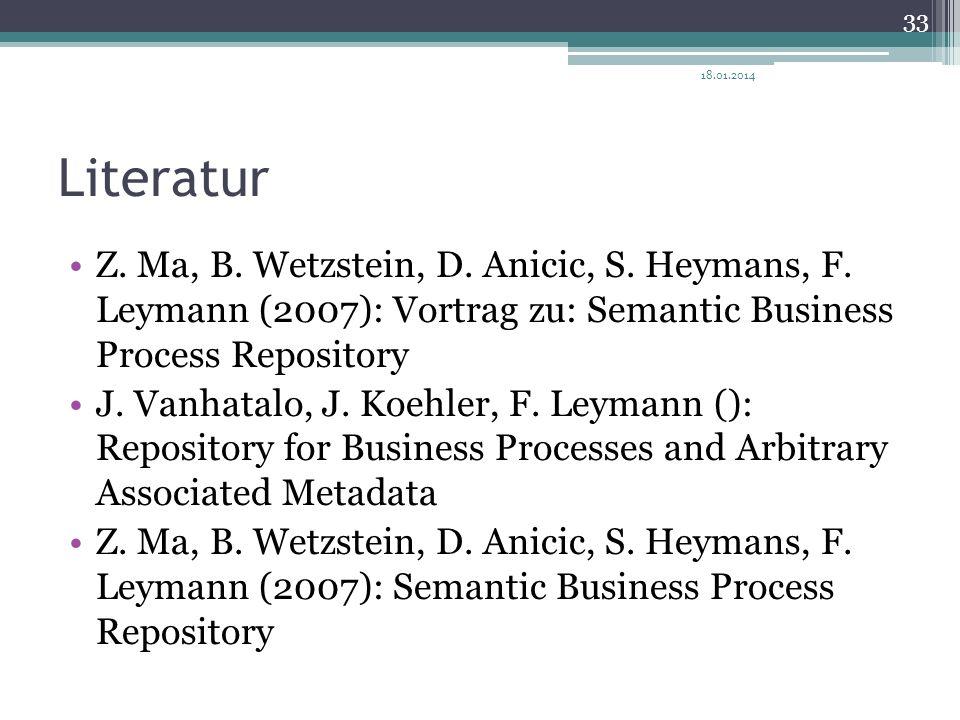 27.03.2017 Literatur. Z. Ma, B. Wetzstein, D. Anicic, S. Heymans, F. Leymann (2007): Vortrag zu: Semantic Business Process Repository.