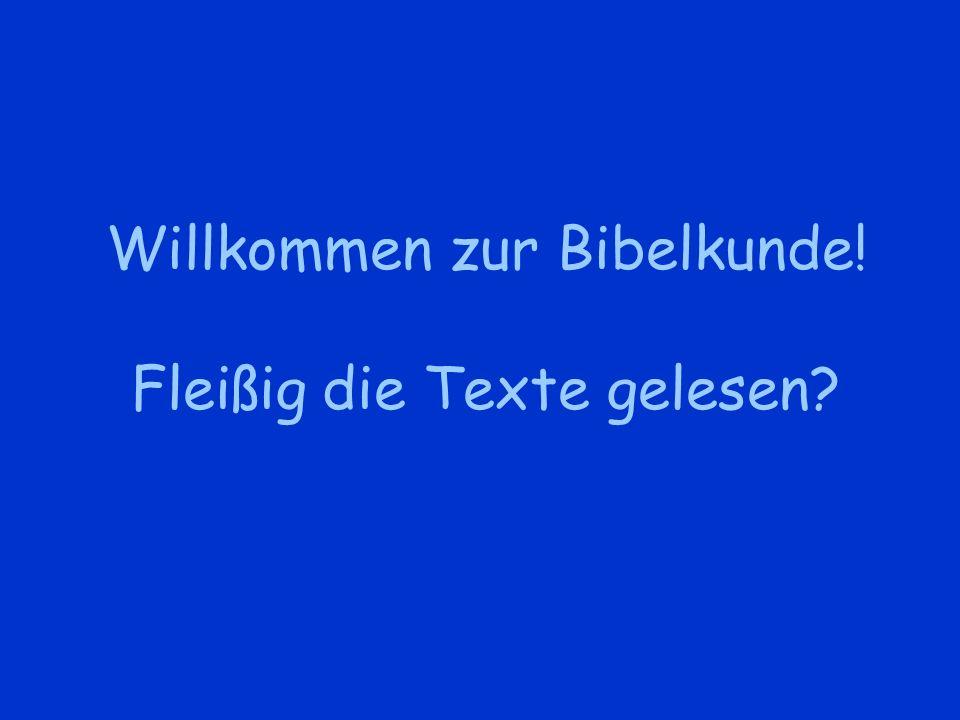 Willkommen zur Bibelkunde! Fleißig die Texte gelesen