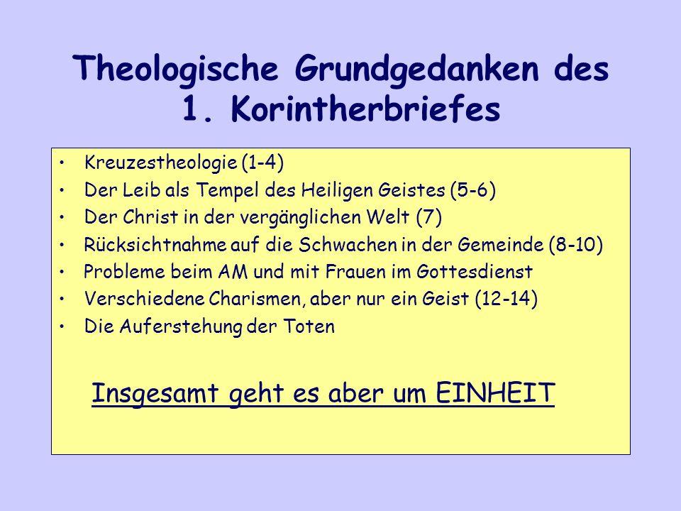 Theologische Grundgedanken des 1. Korintherbriefes