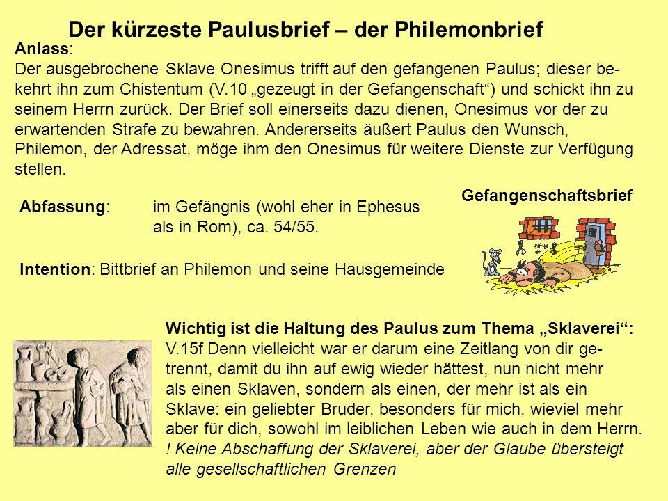 Der kürzeste Paulusbrief – der Philemonbrief