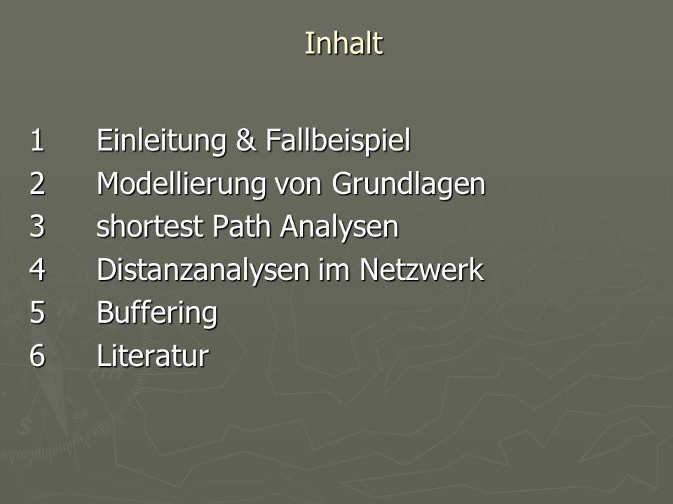 Inhalt 1 Einleitung & Fallbeispiel. 2 Modellierung von Grundlagen. 3 shortest Path Analysen. 4 Distanzanalysen im Netzwerk.