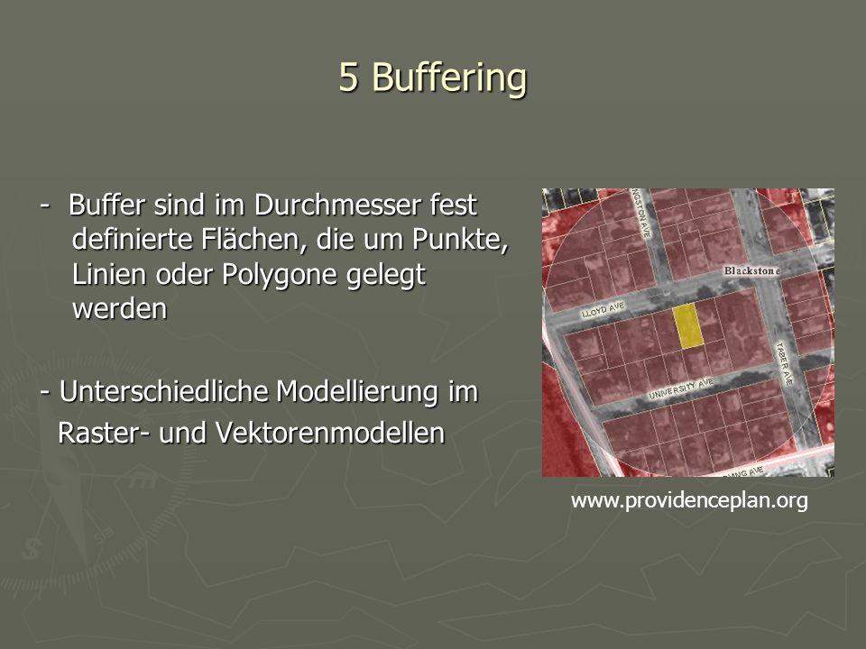 5 Buffering - Buffer sind im Durchmesser fest definierte Flächen, die um Punkte, Linien oder Polygone gelegt werden.