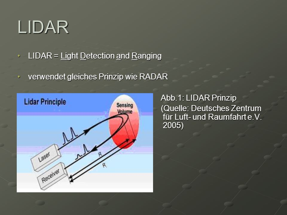 LIDAR LIDAR = Light Detection and Ranging