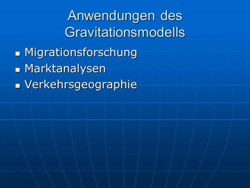 Anwendungen des Gravitationsmodells