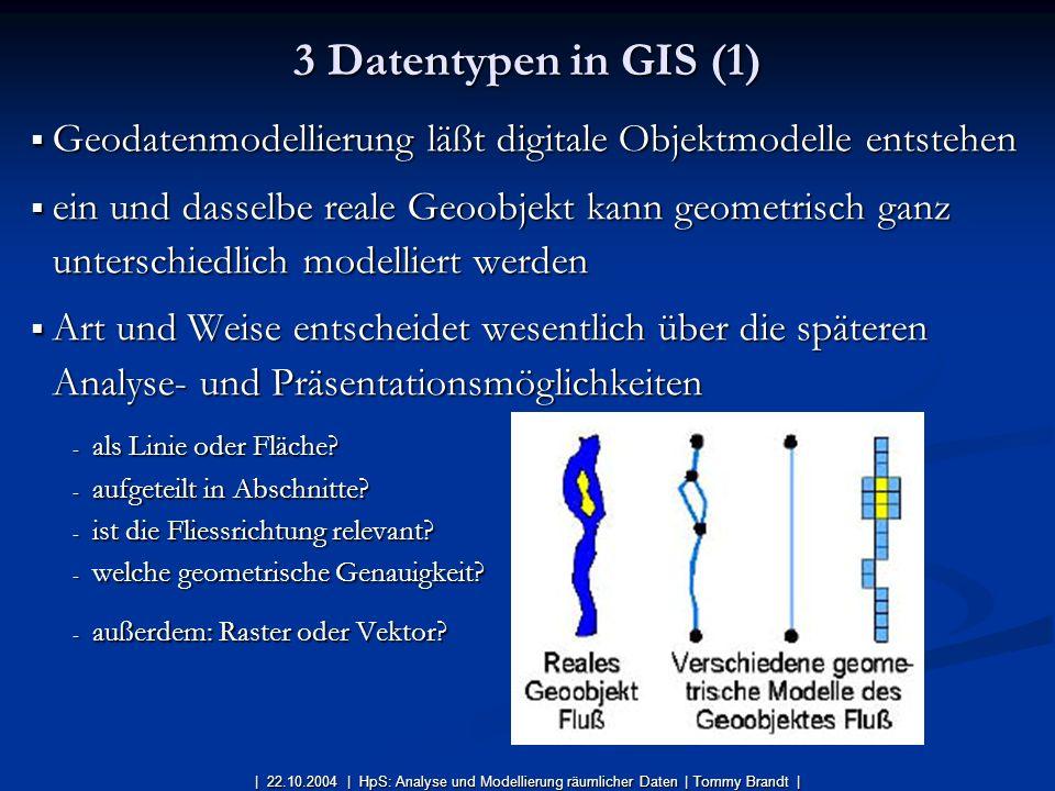 3 Datentypen in GIS (1) Geodatenmodellierung läßt digitale Objektmodelle entstehen.