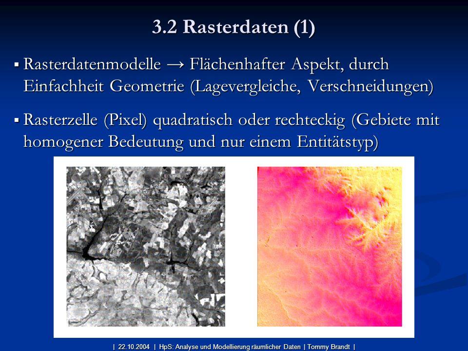 3.2 Rasterdaten (1) Rasterdatenmodelle → Flächenhafter Aspekt, durch Einfachheit Geometrie (Lagevergleiche, Verschneidungen)