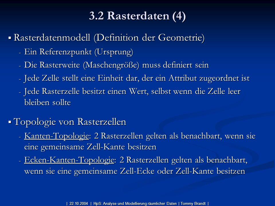 3.2 Rasterdaten (4) Rasterdatenmodell (Definition der Geometrie)