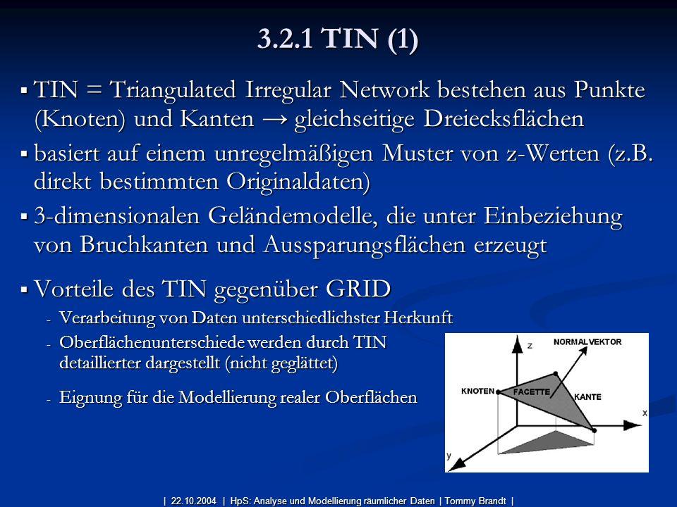 3.2.1 TIN (1) TIN = Triangulated Irregular Network bestehen aus Punkte (Knoten) und Kanten → gleichseitige Dreiecksflächen.