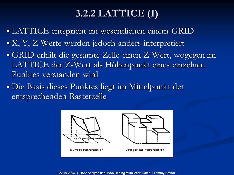 3.2.2 LATTICE (1) LATTICE entspricht im wesentlichen einem GRID