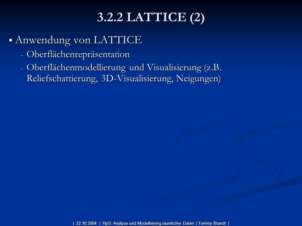 3.2.2 LATTICE (2) Anwendung von LATTICE Oberflächenrepräsentation