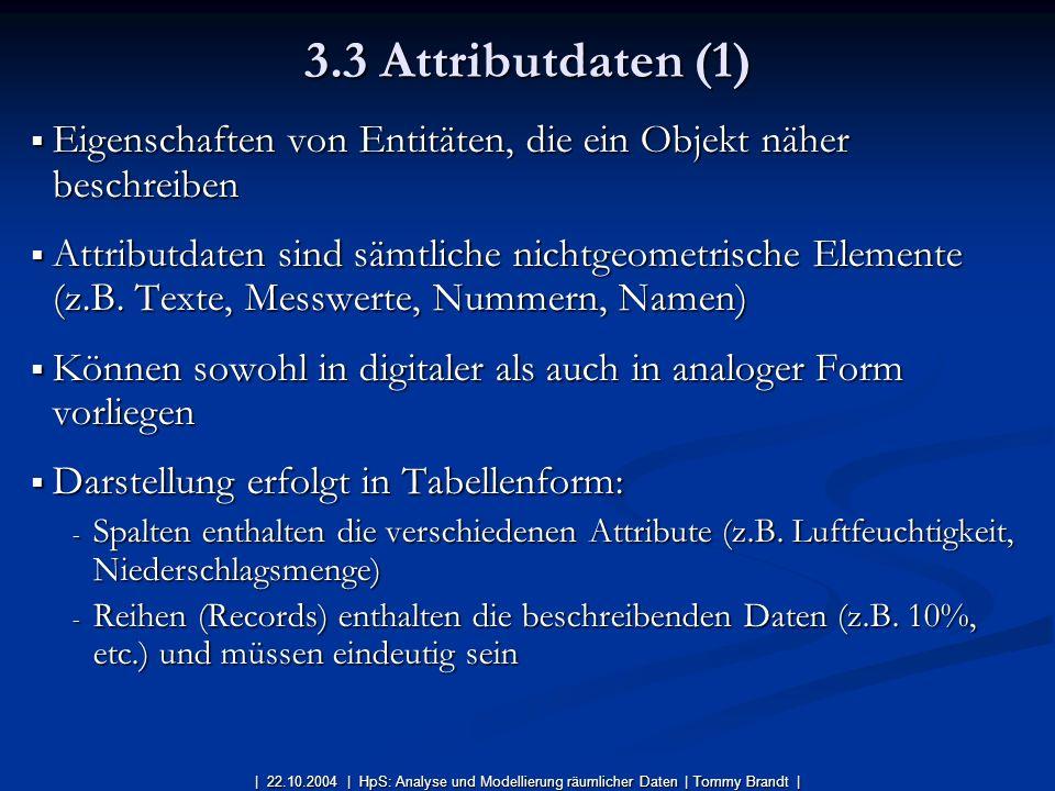 3.3 Attributdaten (1) Eigenschaften von Entitäten, die ein Objekt näher beschreiben.