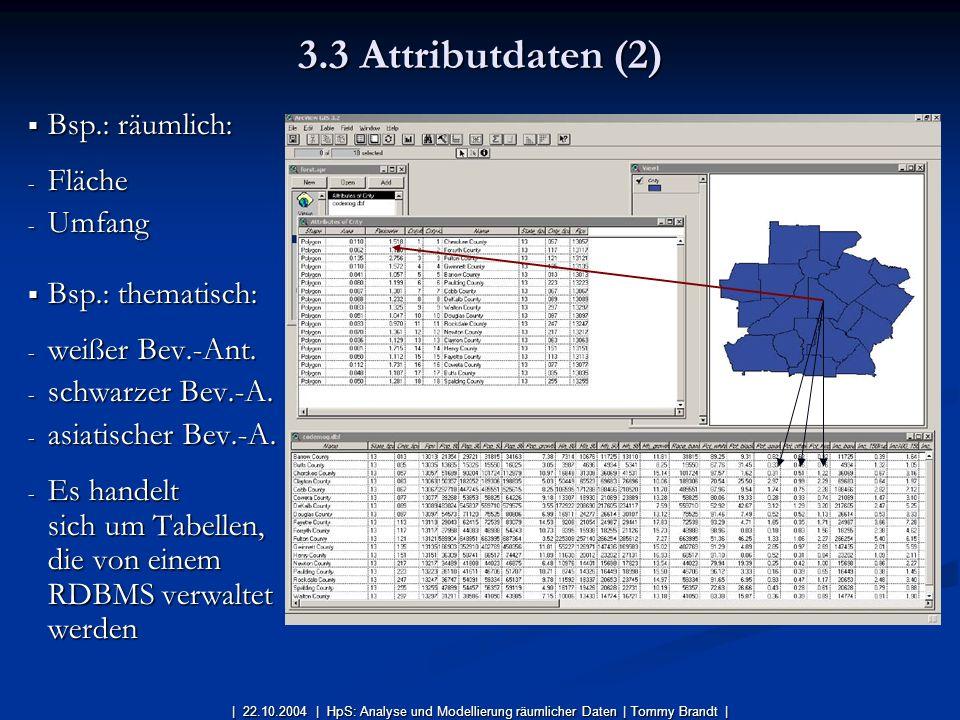 3.3 Attributdaten (2) Bsp.: räumlich: Fläche Umfang Bsp.: thematisch: