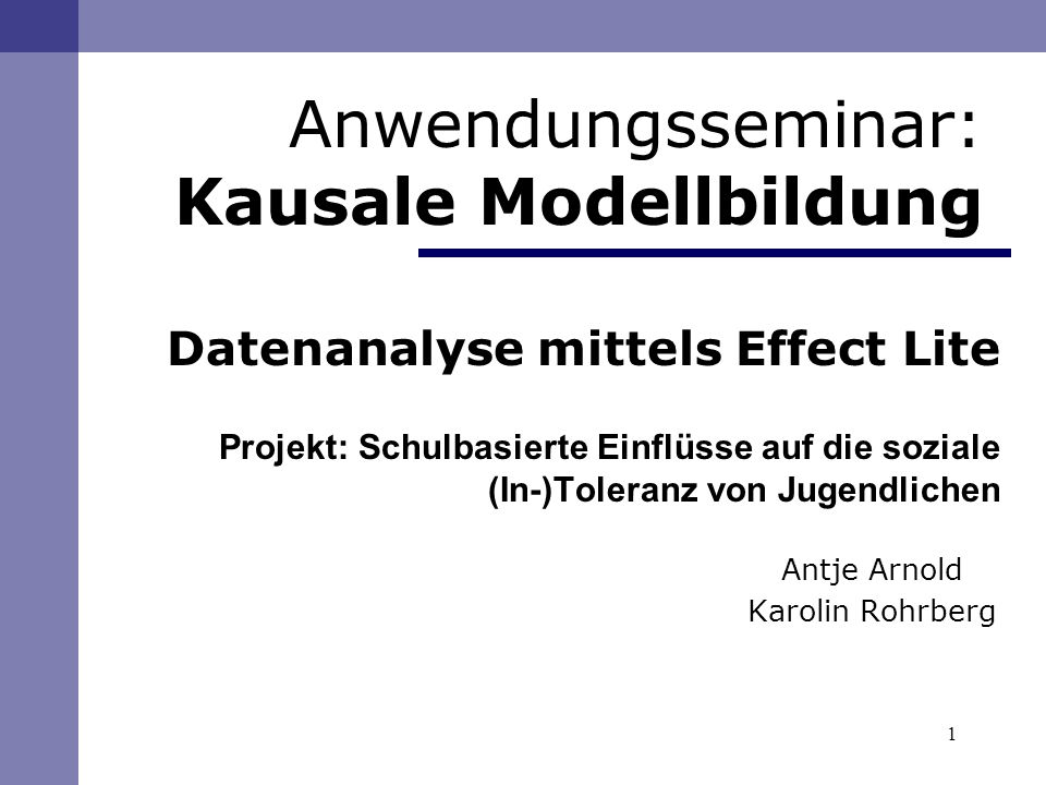 Anwendungsseminar: Kausale Modellbildung