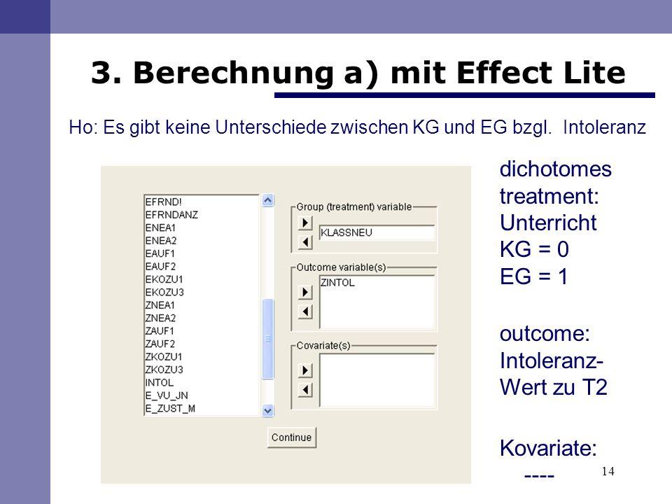 3. Berechnung a) mit Effect Lite