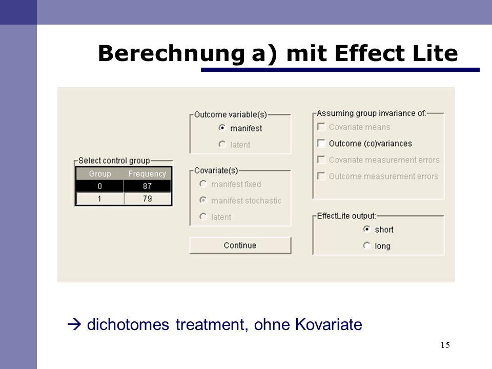 Berechnung a) mit Effect Lite
