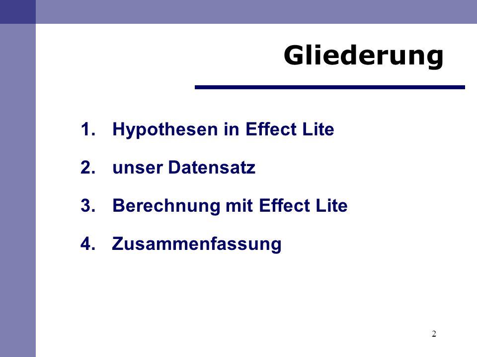 Gliederung Hypothesen in Effect Lite unser Datensatz