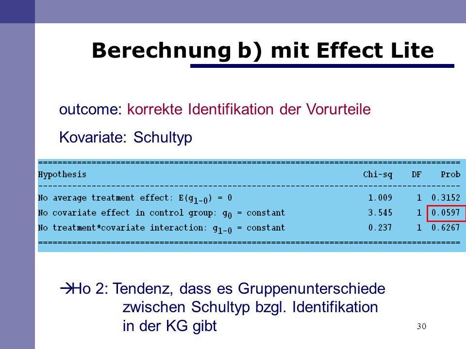 Berechnung b) mit Effect Lite