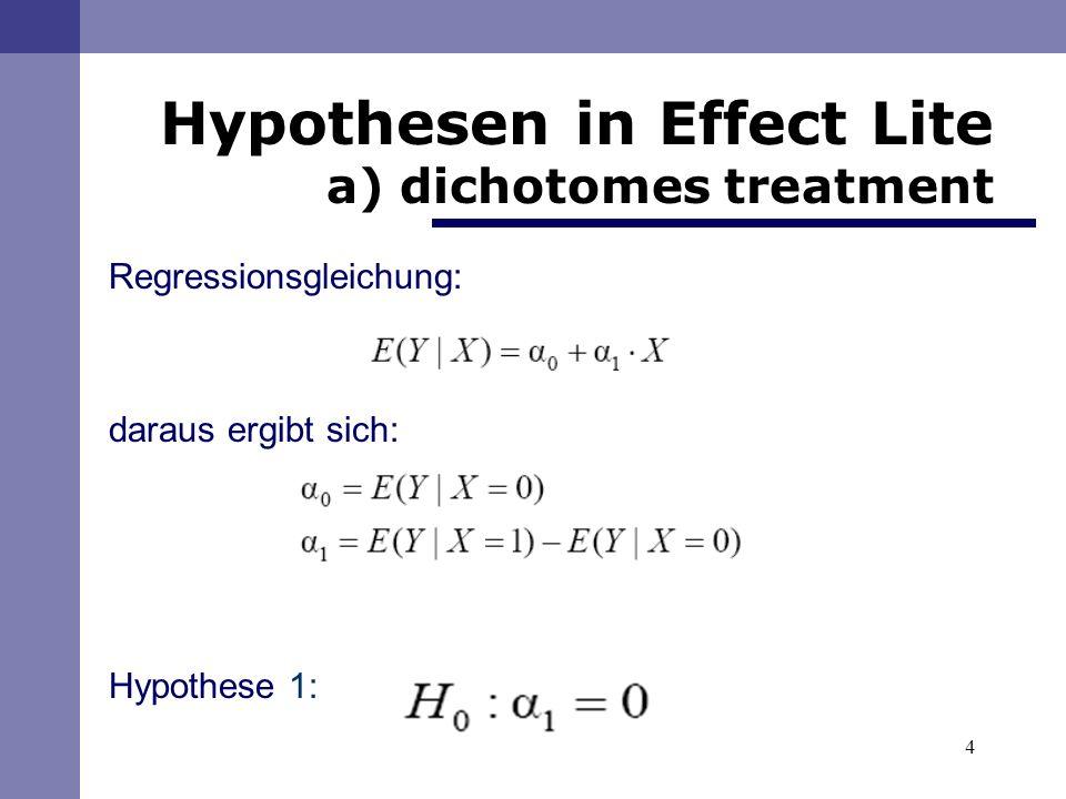 Regressionsgleichung: daraus ergibt sich: Hypothese 1: