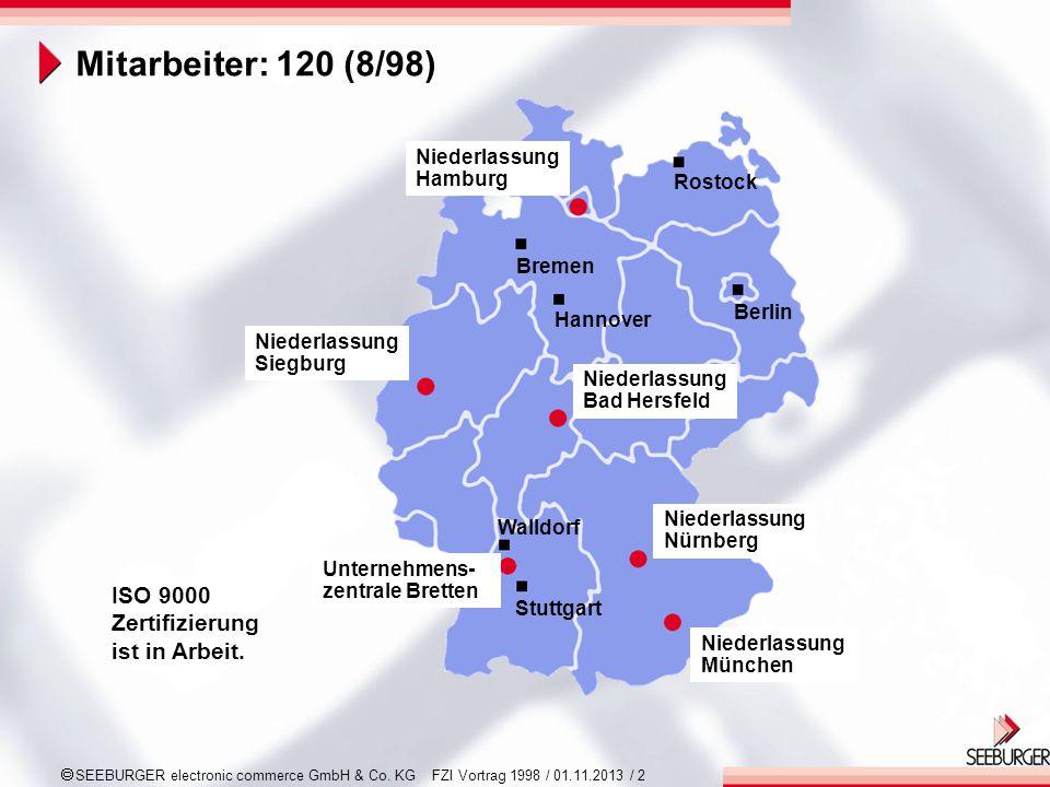 Mitarbeiter: 120 (8/98) ISO 9000 Zertifizierung ist in Arbeit. Hamburg