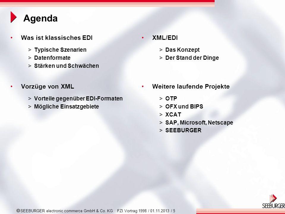 Agenda Was ist klassisches EDI Vorzüge von XML XML/EDI