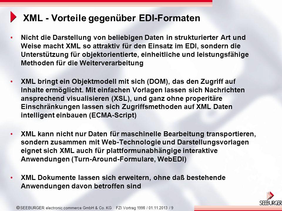 XML - Vorteile gegenüber EDI-Formaten