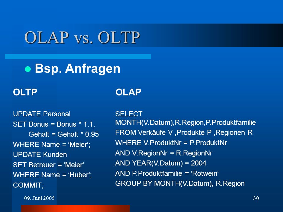 OLAP vs. OLTP Bsp. Anfragen OLTP OLAP UPDATE Personal