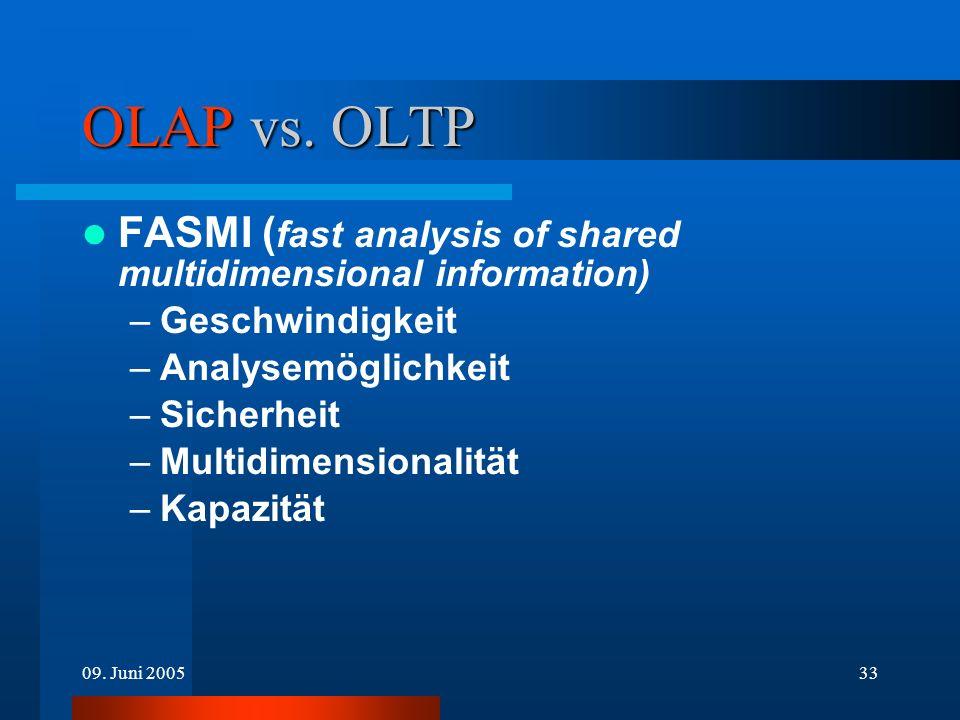 OLAP vs. OLTP FASMI (fast analysis of shared multidimensional information) Geschwindigkeit. Analysemöglichkeit.